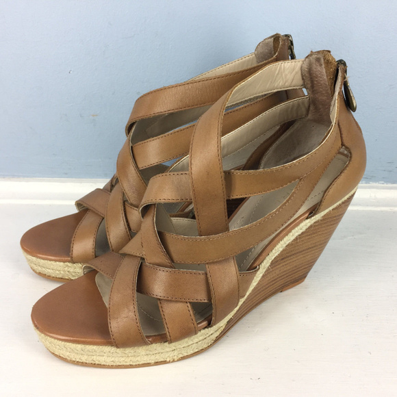 Brown Leather Strappy Wedge Sandals